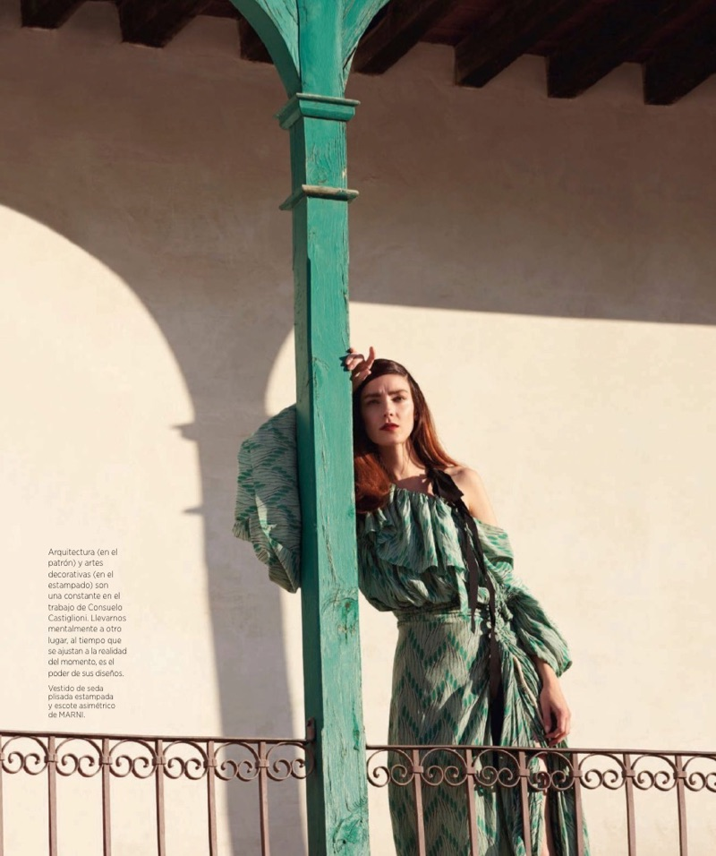 Flaunting some shoulder, Kati Nescher poses in Marni dress with ruffles