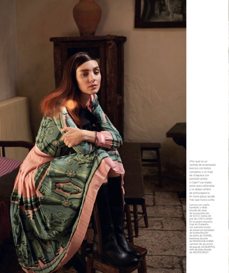 Kati Nescher models Gucci shirt and skirt with Cartujano boots