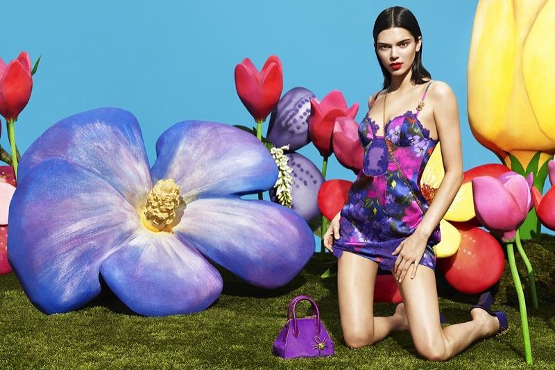 Kendall Jenner models print slip dress in La Perla pre-fall 2017 campaign