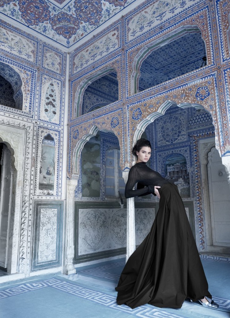 Photographed by Mario Testino, model Kendall Jenner poses in black gown