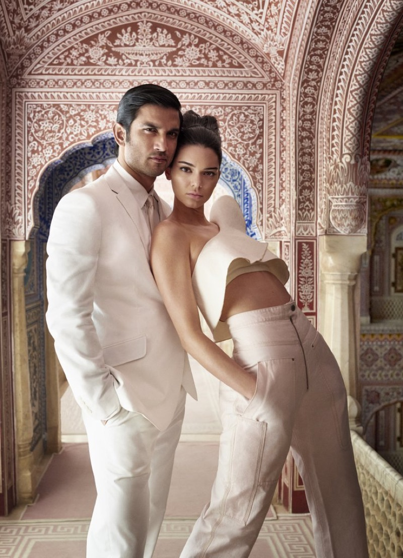 Posing with actor Sushant Singh Rajput, Kendall Jenner models Isabel Marant one-sleeve top and cropped trousers