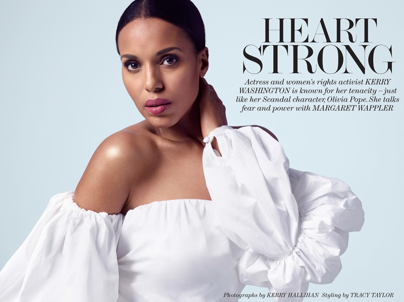 Photographed by Kerry Hallihan, Kerry Washington poses in Johanna Ortiz off-the-shoulder top