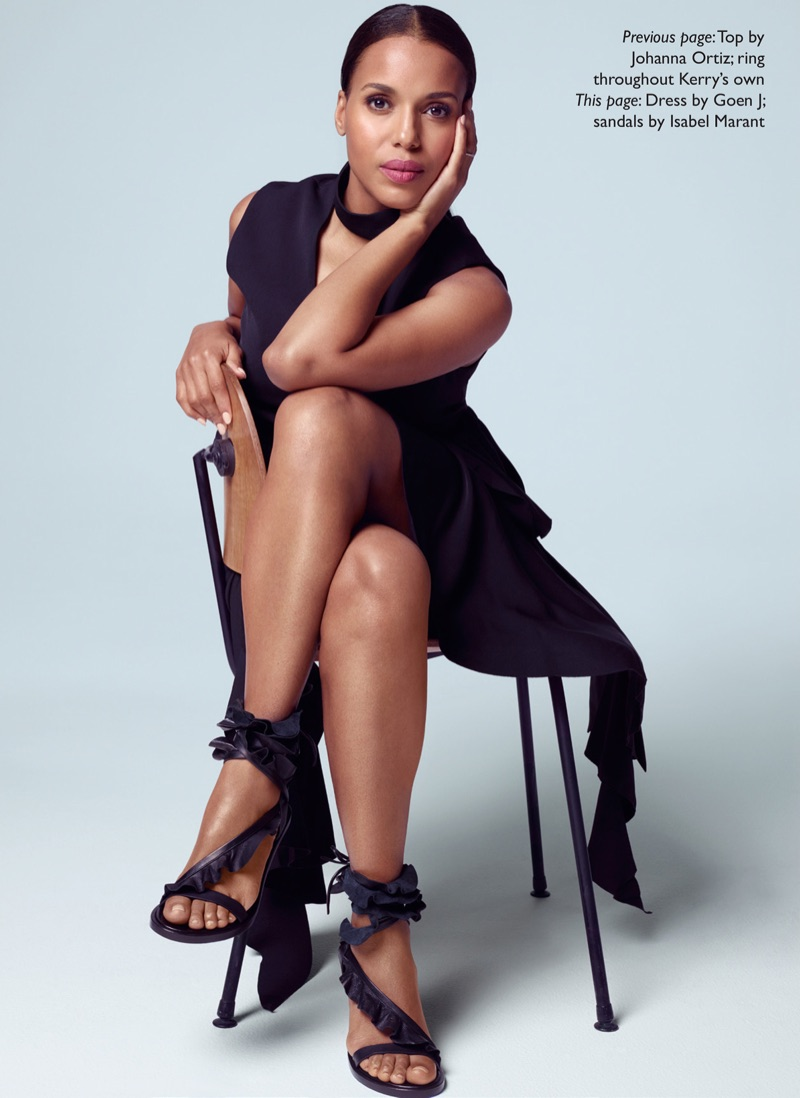 Actress Kerry Washington poses in Goen J dress and Isabel Marant sandals