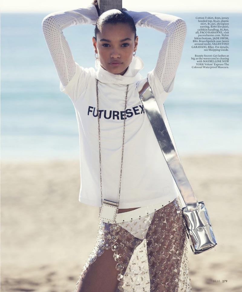 Lameka Fox Wears Chic Beach Styles for ELLE