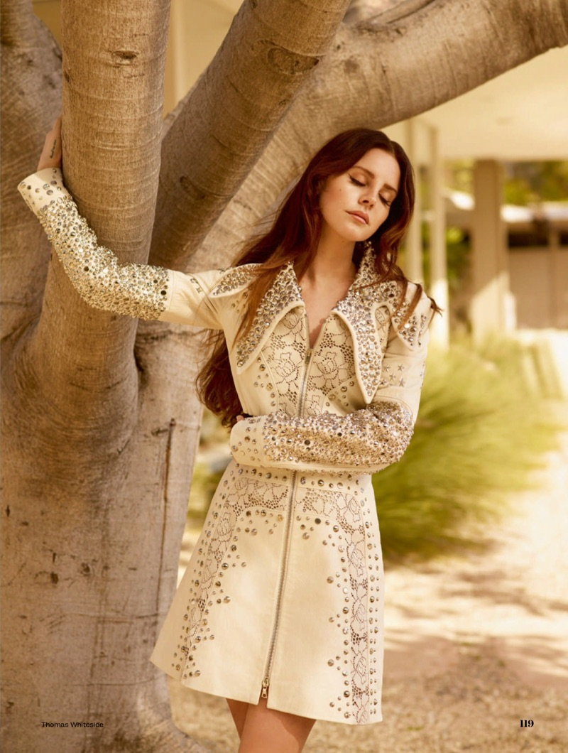 Lana Del Rey wears embroidered leather coat