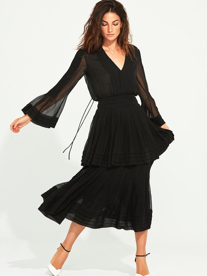 Photographed by Tomás de la Fuente, Lily Aldridge poses in black dress