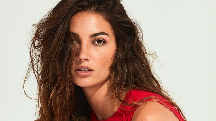 Lily Aldridge poses in red dress