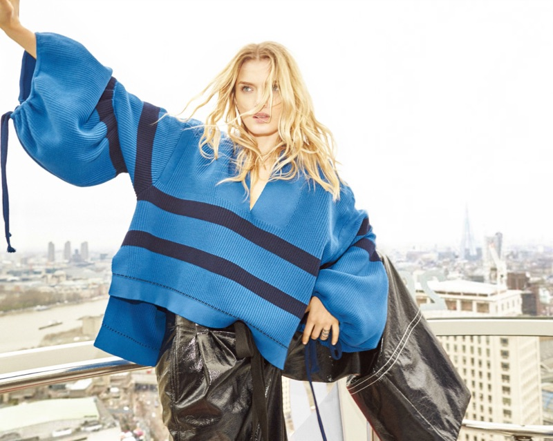 Lily Donaldson wears Sonia Rykiel shirt and pants