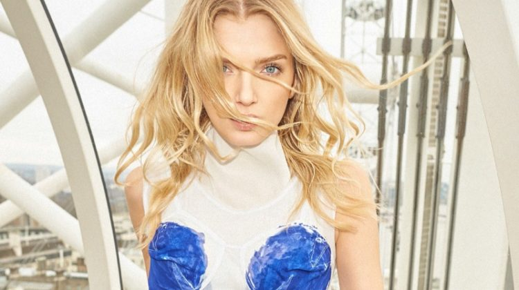 Striking a pose, Lily Donaldson wears Celine dress with graphic detail