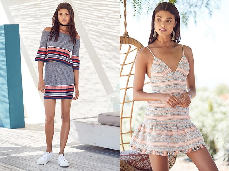 (Left) Lovers + Friends Skye Top $138, Skye Skirt $128 and Superga Slip On Sneaker $84 (Right) Lovers + Friends Heidi Mini $180