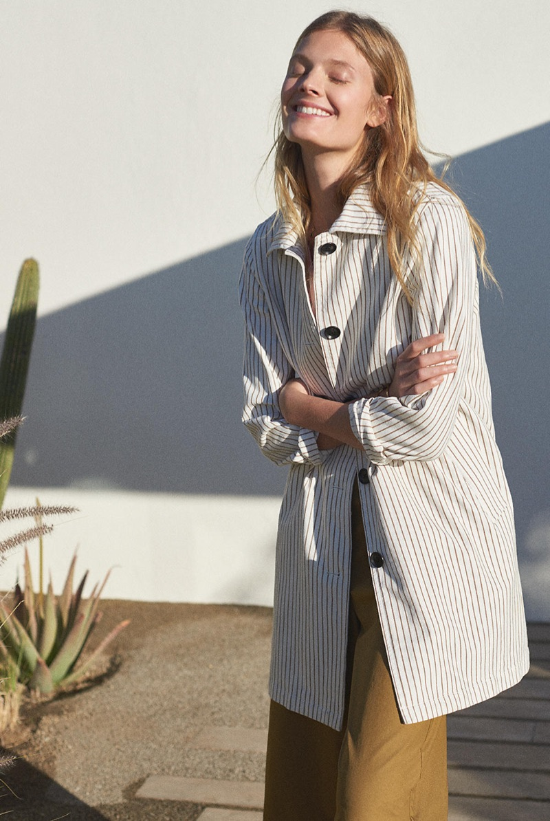 Madewell Striped Outpost Trench Coat and Mayfield Culotte Pants
