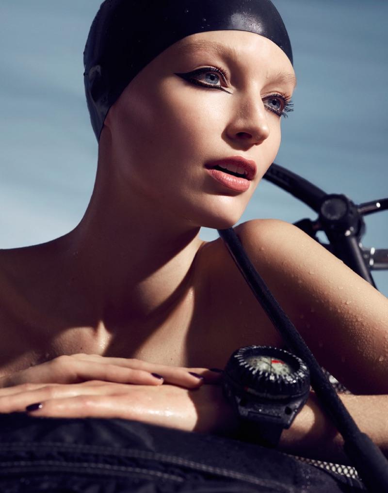 Model Melissa Tammerijn poses in scuba-ready beauty looks for the spread