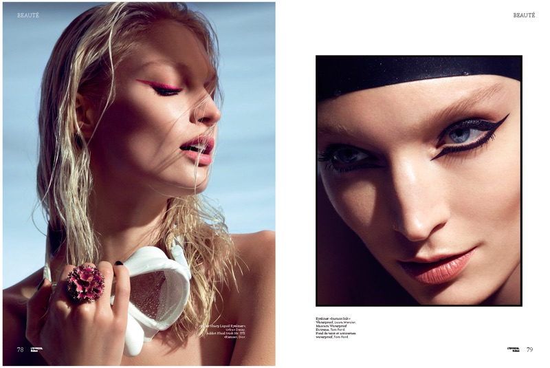 (Left) Melissa Tammerijn models graphic eyeliner look (Right) The model poses with winged eyeliner