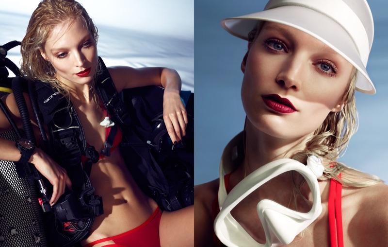 Melissa Tammerijn poses in red bikini with glossy lip color