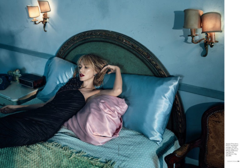 Posing in bed, Naomi Watts wears Armani Prive one-shoulder gown