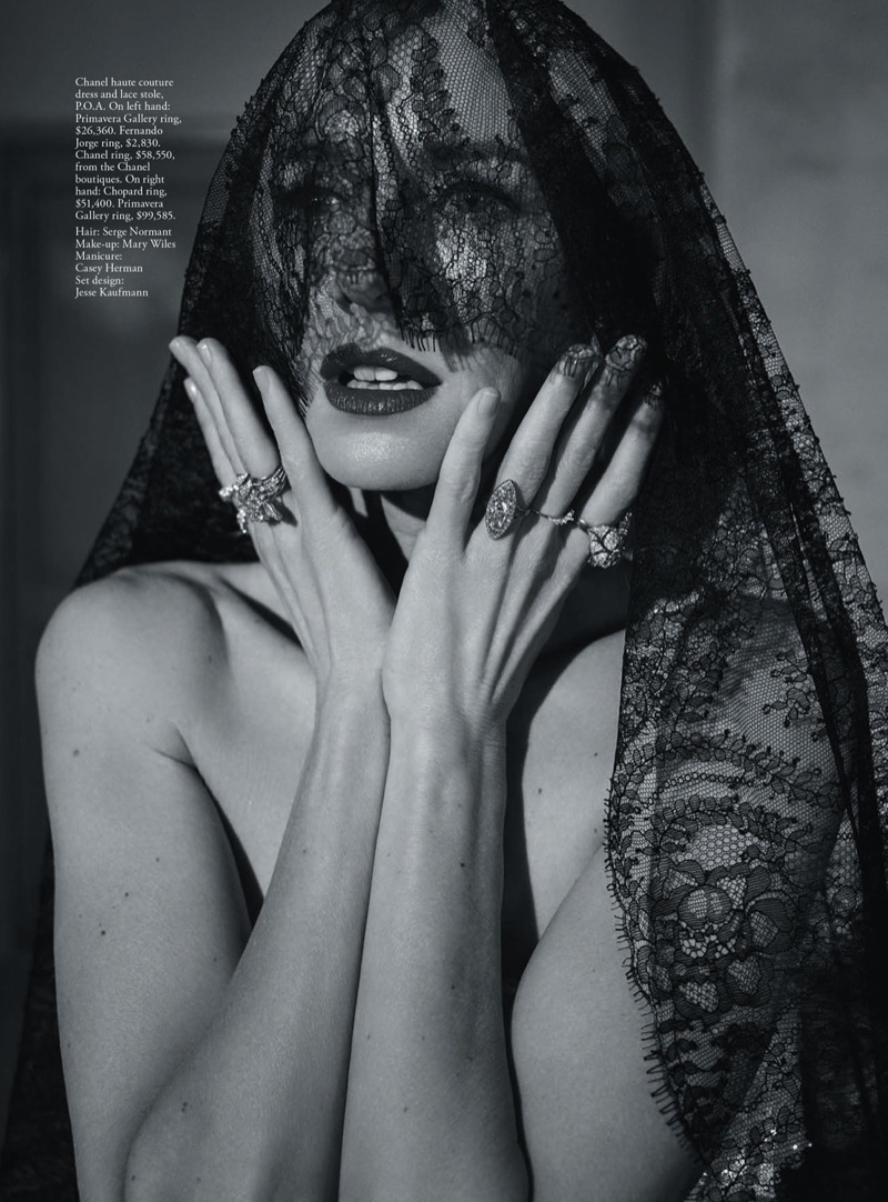 Photographed in black and white, Naomi Watts wears Chanel Haute Couture lace veil