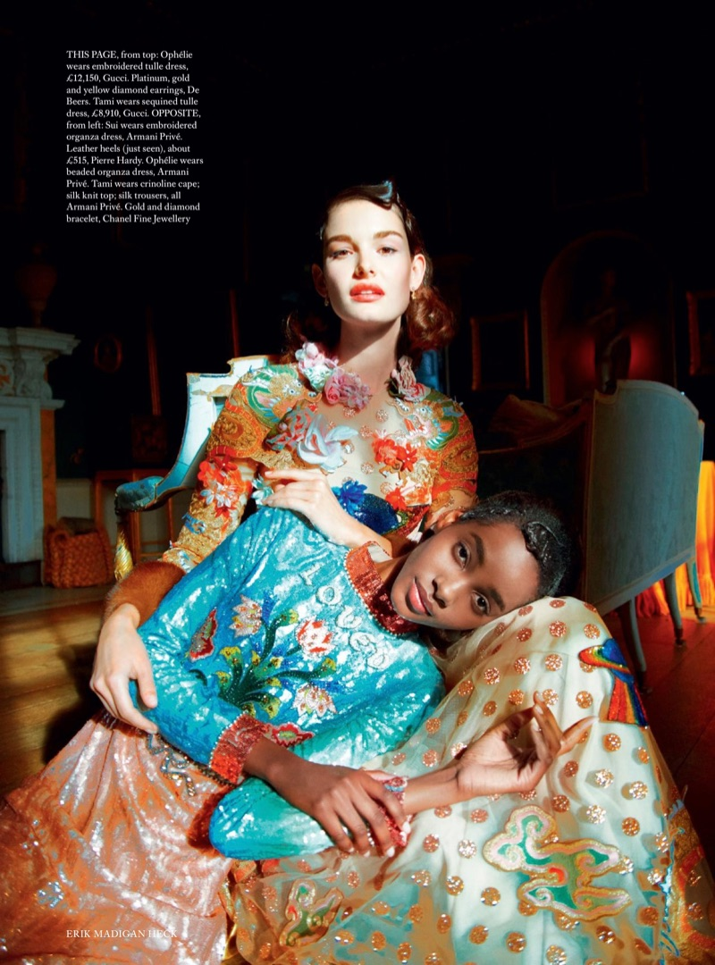 Ophelie Guillermand poses in Gucci embroidered tulle dress. Tami Williams models Gucci sequined tulle dress.