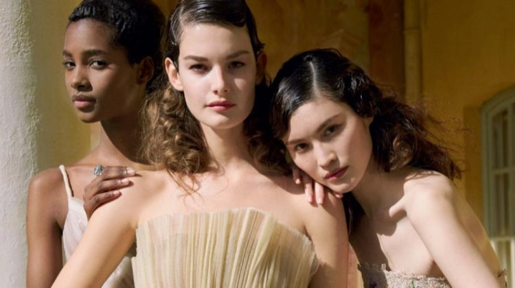 The trio of beauties models Dior Haute Couture gowns with embroidery and pleating