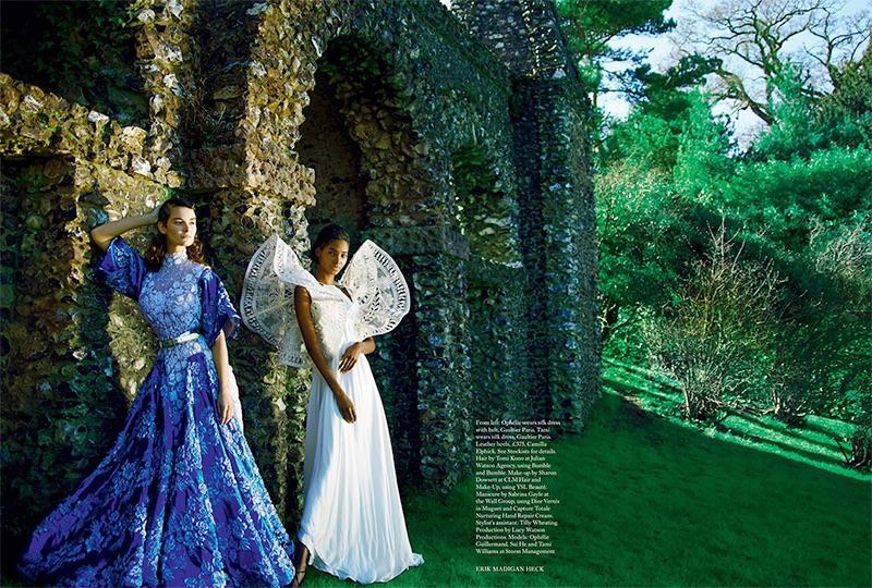 Ophelie looks diaphanous in Gaultier Paris silk dress and belt. Tami Williams stuns in Gaultier Paris silk dress