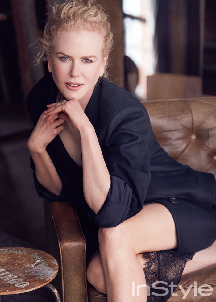 Actress Nicole Kidman poses in fitted blazer