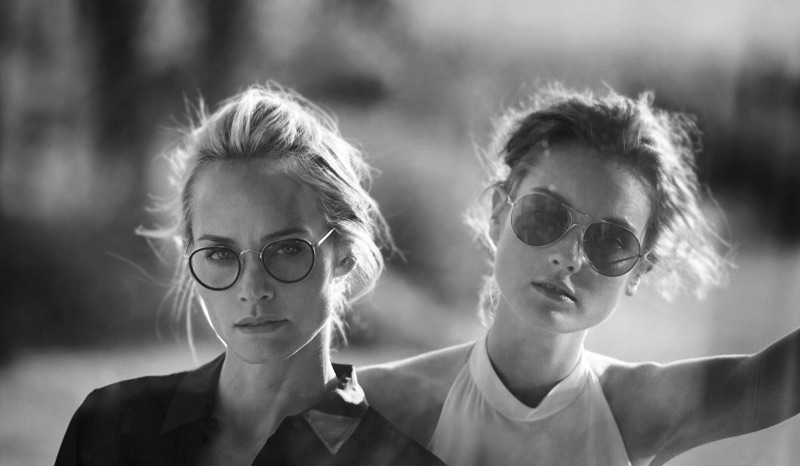 Amber Valletta and Jac Jagaciak appear in Oliver Peoples' 30th anniversary campaign
