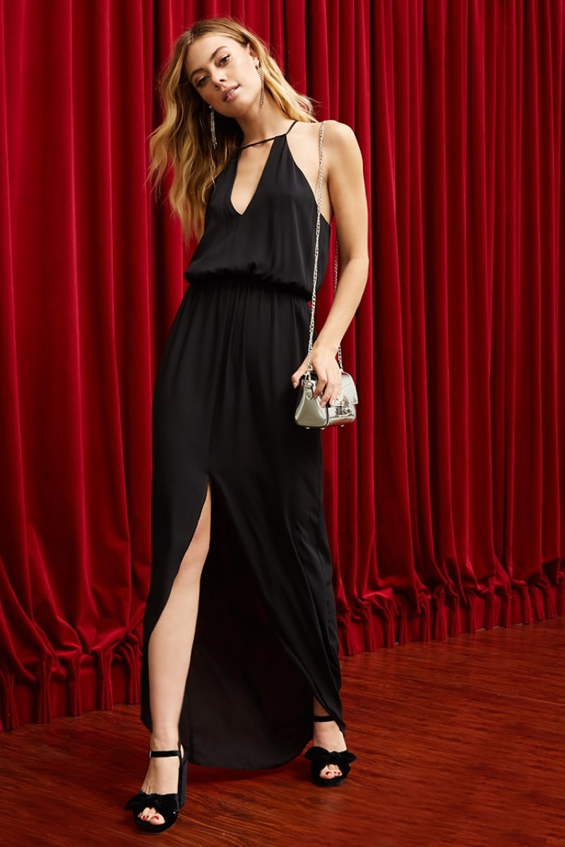 Pretty by Rory Crepe Maxi Dress in Black $68