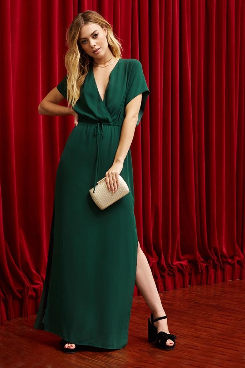 Pretty by Rory Surplice Maxi Dress in Emerald Green $68.00