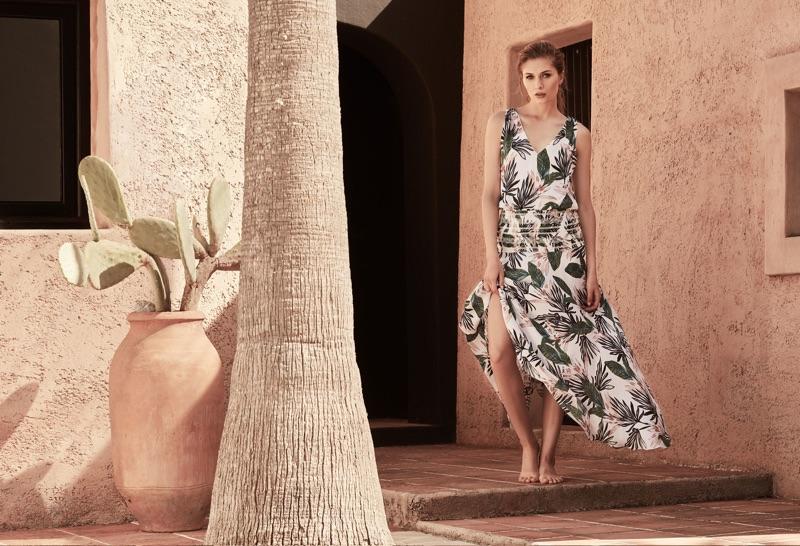 REISS Palm-Print Maxi Dress $545
