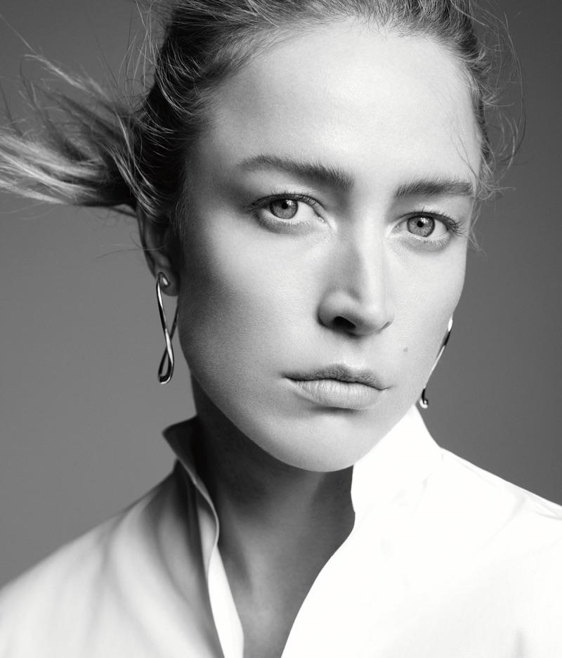 Raquel Zimmermann wears Tiffany & Co. x Elsa Peretti Open Heart earrings