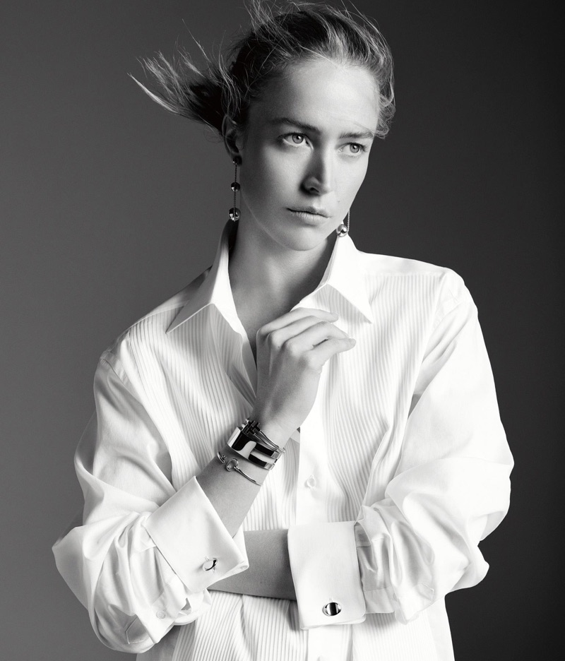 Photographed in black and white, model Raquel Zimmermann poses in Tiffany & Co. designs