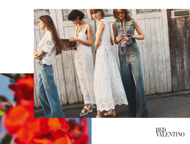 Birdy, Ina Maribo Jensen, Tandi Reason Dahl and Mia Gruenwald appear in RED Valentino's spring-summer 2017 campaign