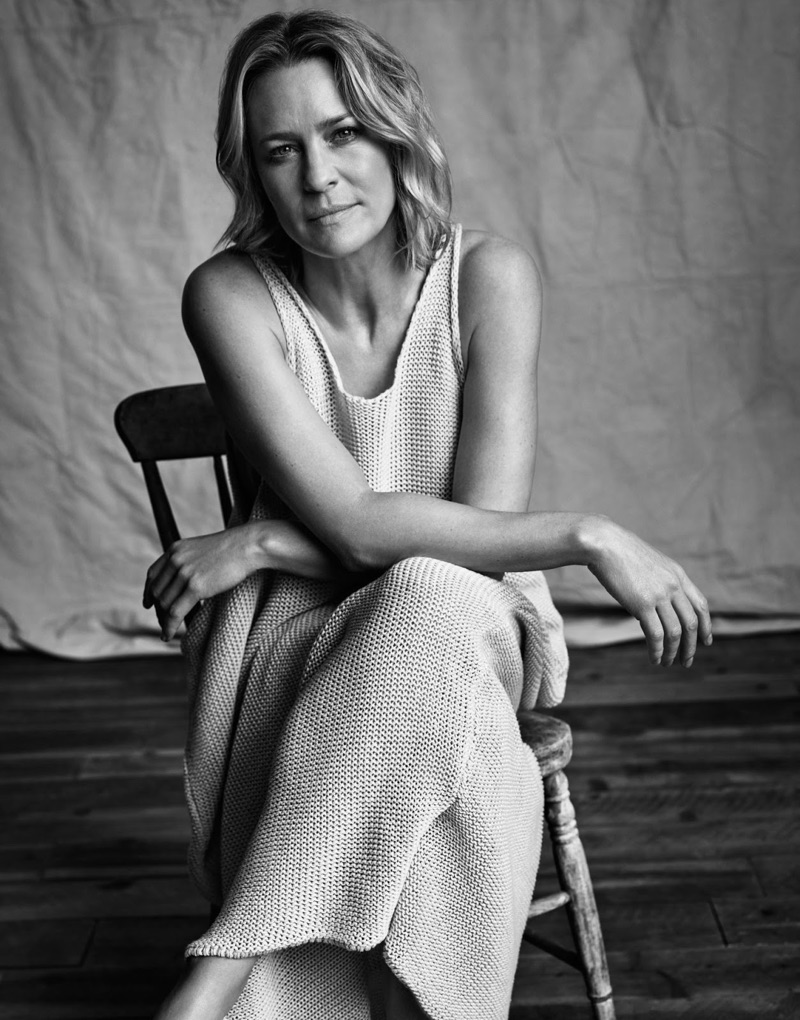 Robin Wright poses in Stella McCartney dress and tank