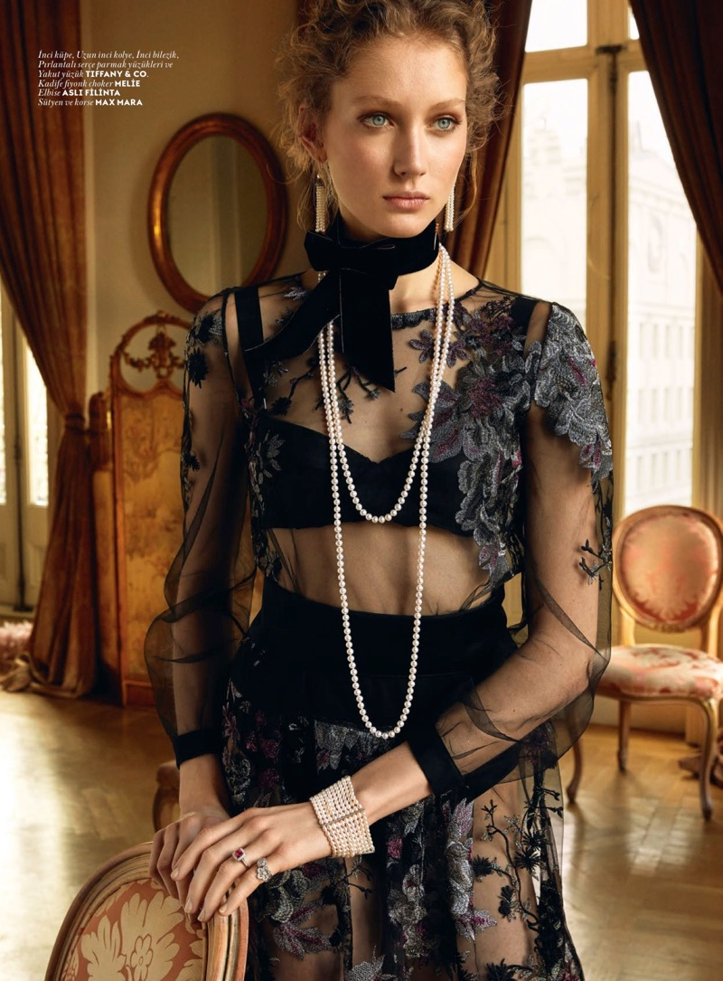 Sandra Martens models Tiffany & Co. jewelry with Melie choker, Asli Philante dress and Max Mara lingerie