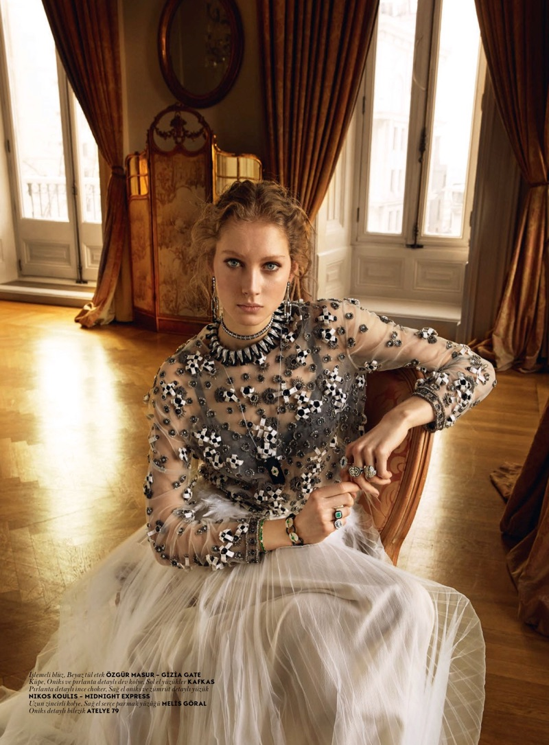 Sandra Martens poses in Özgür Masur embroidered blouse and tulle skirt