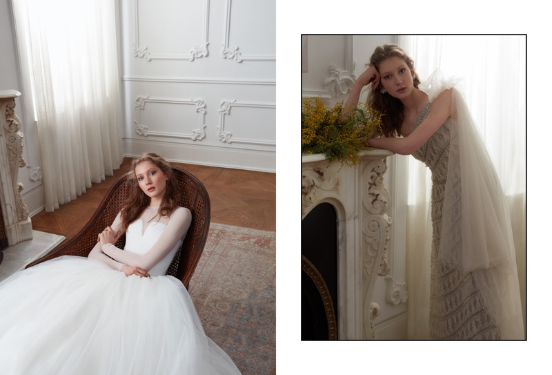 Sandra Martens poses in dreamy wedding gowns for the editorial