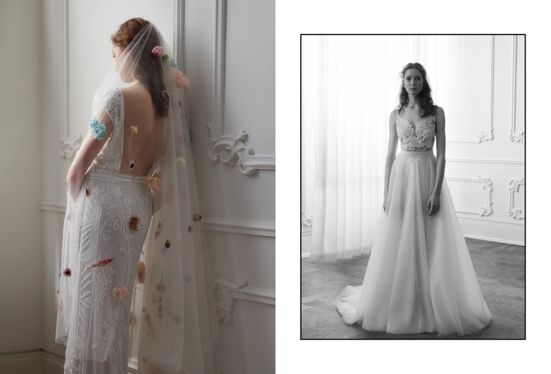 Model Sandra Martens poses in embroidered wedding dress styles