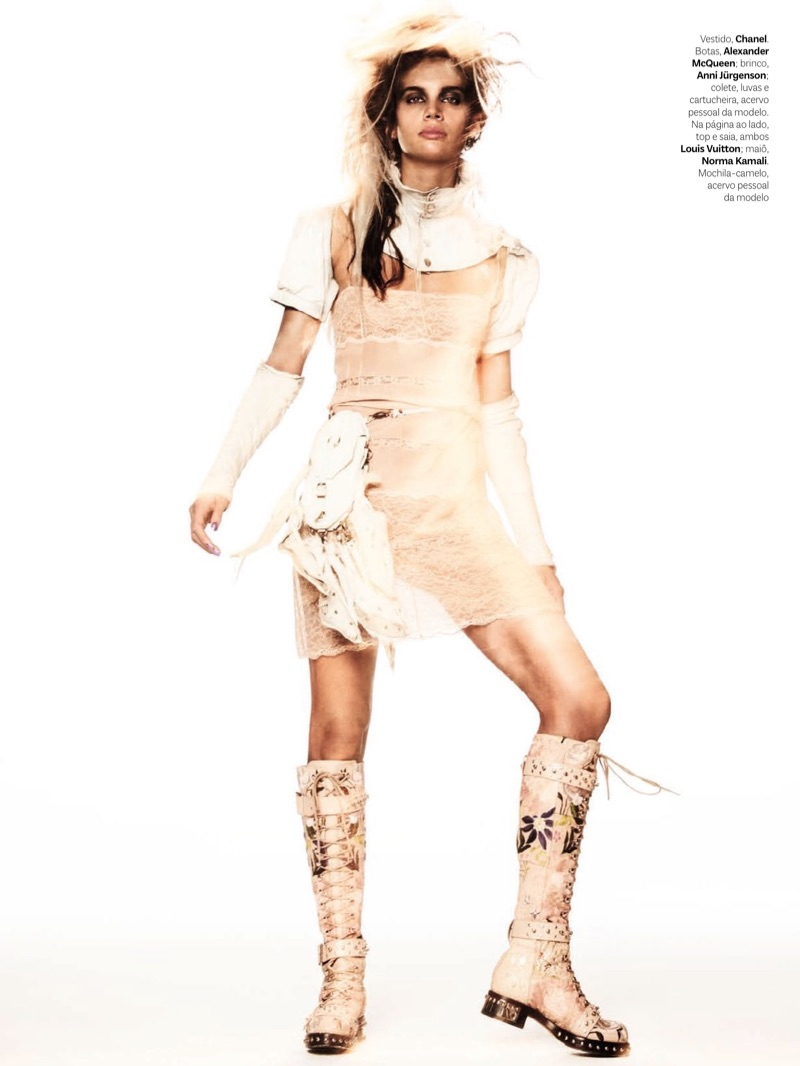 Sara Sampaio poses in Chanel dress, Alexander McQueen boots and Anni Jürgenson earring