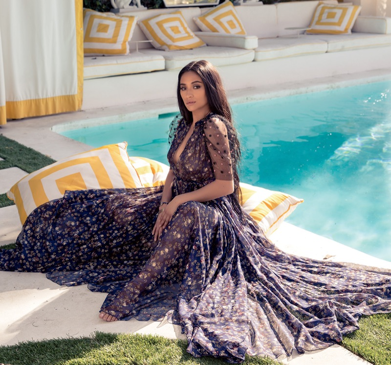 Posing poolside, Shay Mitchell wears Valentino gown