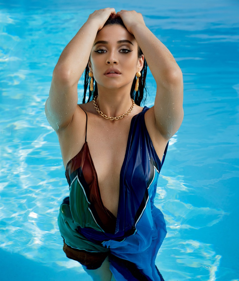 Shay Mitchell takes a dip in the pool wearing Diane von Furstenberg dress