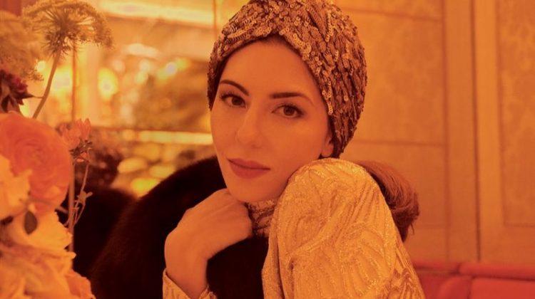 Sofia Coppola poses in Kokin turban, Marc Jacobs dress and Pologeorgis shrug