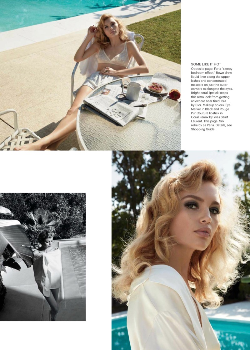 Posing poolside, Staz Lindes shows off a retro beauty look with her hair in romantic waves