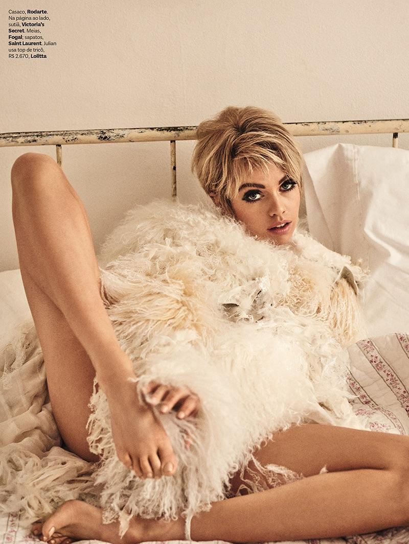 Dressed in fur, Stella Maxwell poses in Rodarte jacket