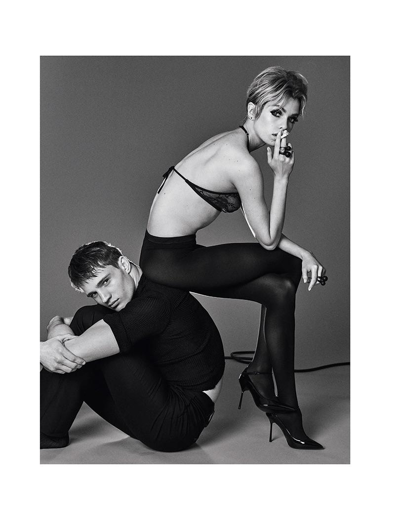Model Stella Maxwell wears Victoria's Secret bra and Saint Laurent heels