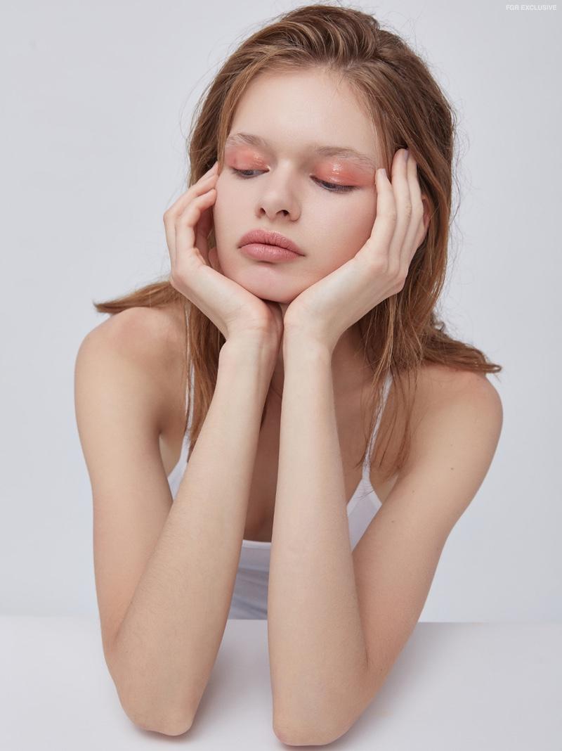 Sveta Matiu wears pink eyeshadow in the beauty shoot. Photo: Christopher Shintani