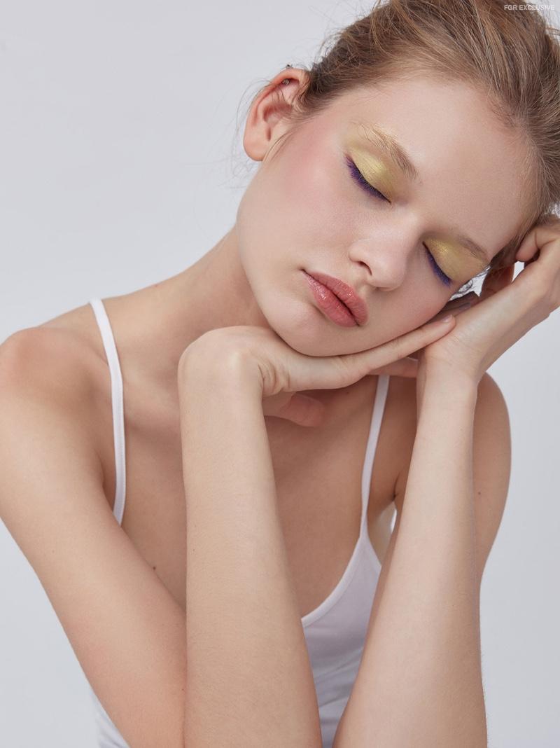 Model Sveta Matiu poses forChristopher Shintani