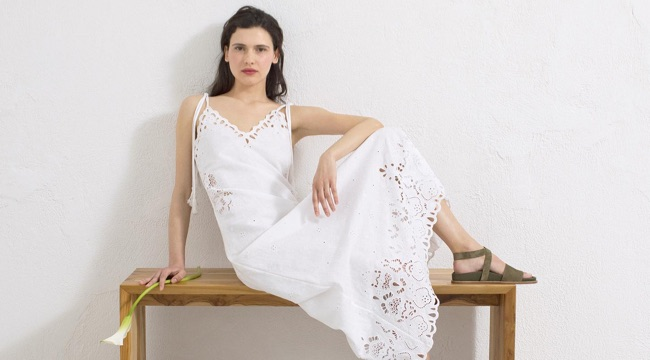 Theory Embroidered Linen-Cotton Dress $475