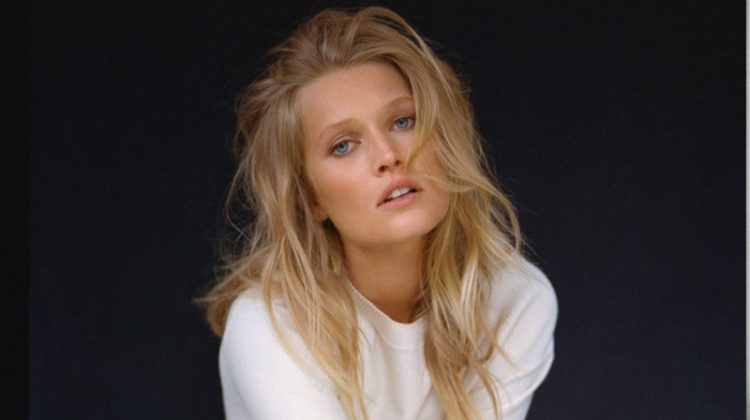 Toni Garrn models Dior top and skirt