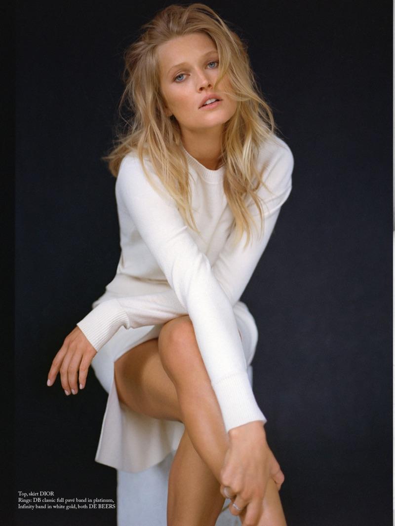 Toni Garrn models Dior top and skirt