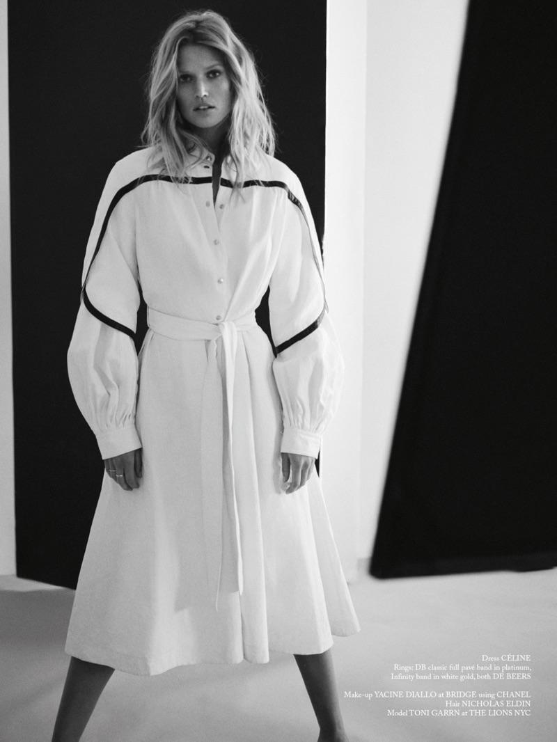 Model Toni Garrn wears oversized Celine dress