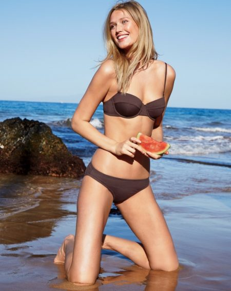 Toni Garrn is Beach Chic in J. Crew's Latest Swimwear Styles